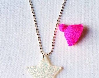 Star Necklace Glitter Star Necklace Sparkle Pink Necklace Tassel Necklace Pendant Star Necklace Pink and Purple Girls Necklace