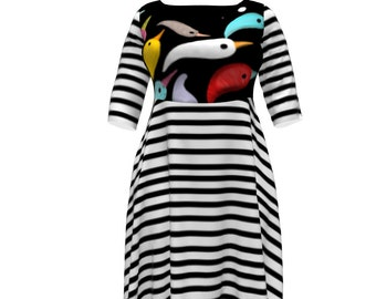 Black and White Dress  - Rupydetequila Fabric - Plus Size Dress