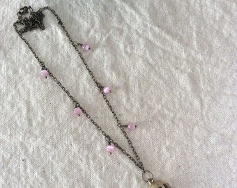 Vintage Bell necklace with pink bead accents - boho, gypsy, everyday jewelry
