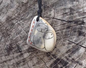 Healing Shard Necklace - Beach Pottery - Jizo Bodhisattva and Cat