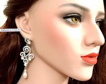 Chandelier Bridal Earrings, Pearl Drop Wedding Earrings, Long Dangle Earrings, Statement Bridal Jewelry, Swarovski Wedding Jewelry, STRUDEL