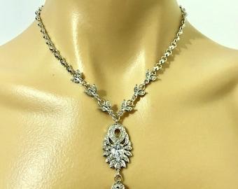 Gatsby Wedding Necklace, Swarovski Bridal Necklace, Art Deco Bridal Jewelry, Crystal Wedding Jewelry, Glamour Statement Necklace, EMPIRE