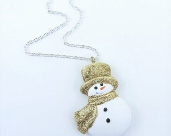 Snowman necklace Gold