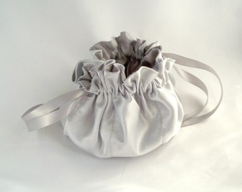 Small Jewelry Pouch, Silver Shantung Satin, Ribbon Drawstring, Handy Travel Bag, Flower Girl Purse, Bridesmaid Gift, Made To Order