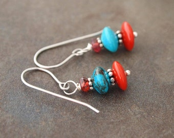 Garnet, Turquoise and Coral Earrings
