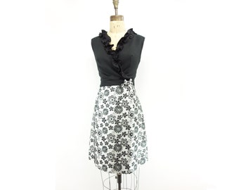 60s Mod Party Dress, 1960s Vintage Dress, 60s Metallic Dress, Silver Party Dress, 60s Cocktail Dress, Brocade Dress, 1960s Daisy Dress, m