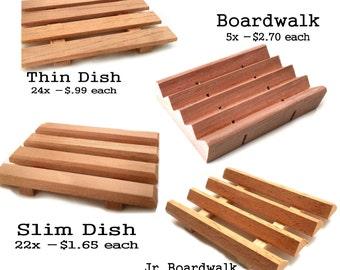 61 Spanish cedar wood soap dish variety pack - 24 thin dishes - 22 slim dishes - 10 JR. Boardwalks - 5 Boardwalk