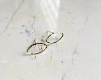 Gold Eye studs. Small Brass Earrings. Sterling Posts. Simple Studs. Gifts under 20. Geometric Studs.
