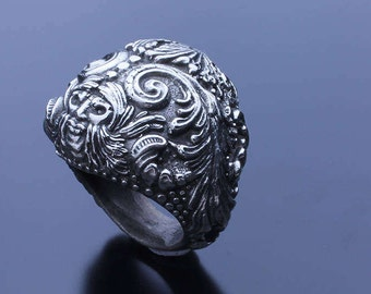 Greenman Floral Highly detailed Sterling Silver Fashion Ring, Flourish ring, Ornamental Ring, Medieval Styled Ring, Victorian Revival Ring