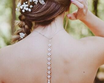 Back Drop Bridal Necklace, Backdrop Wedding necklace, Bridal jewelry, Swarovski Crystal Drop, Crystal Back Drop necklace, Simple, EMMA