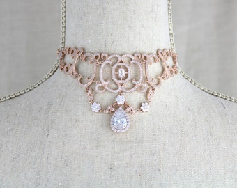 Rose gold necklace, Choker necklace, Bridal necklace, Swarovski, Bridal jewelry, Crystal necklace, Vintage style necklace, Wedding neclace