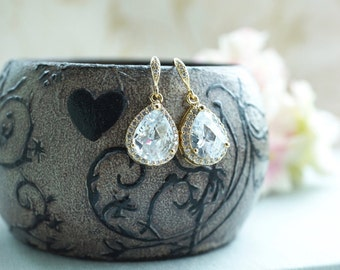 Gold Wedding Bridal Earrings LARGE Teardrop White Cubic Zirconia Dangle Earrings Bridesmaid Earrings Bridesmaid Gift Set of 6, set of 7