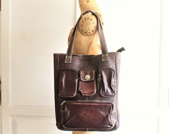 90s vintage large leather tote bag | leather laptop bag