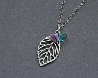 Collier leaf : feuille nature fleurs