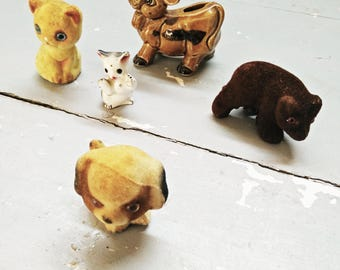 Vintage Ornament Lot. Kitsch Lot. Vintage ornament lot. Spanish Bull, Kitties. Puppy, WombatVintage Dog. Vintage Cat. Vintage Ceramics.