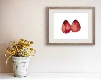 Kitchen art Red Pears art Print, watercolor painting, garnet red, still life, minimalist art, country home, farmer market, pears print
