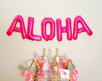 Pink ALOHA Balloons,Aloha Party, Aloha Theme, Aloha in Pink, Aloha Banner, Aloha Decoration,Aloha Photo Booth,Aloha Gold Banner, Aloha Decor