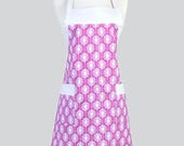 Womens Chef Apron / Cute Pink Fuchsia and White Dandelions Retro Vintage Style Kitchen Apron is Ideal to Personalize or Monogram