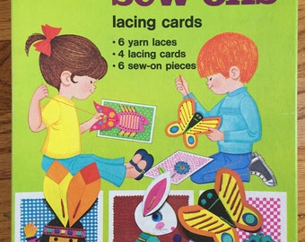Vintage 1974 Whitman Simple Sew-Ons Lacing Cards NOS / Dexterity, Craft, Activity Toy