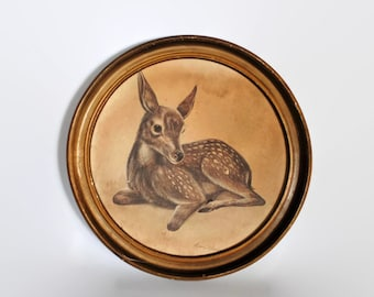 Vintage Framed Fawn Print Signed Ruane Manning // Baby Deer // Vintage Nursery Decor