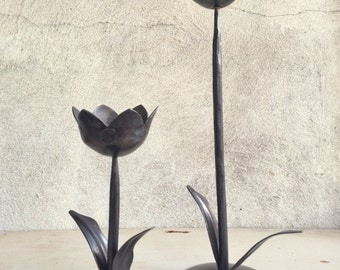 Set of two vintage forged iron tulip candlestick candle holders Art Nouveau modern decor, bohemian decor, hacienda candleholder, tulip decor