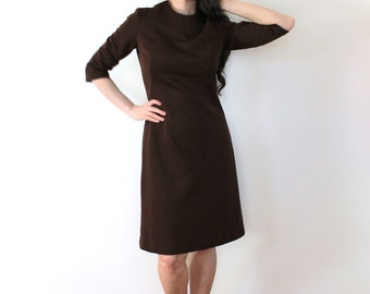 1960s Brown Dress / Brown 60s 70s Secretary Shift Dress