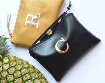 SALE Personalized Gift Idea for Her Monogram Clutch Set Purse Custom Women Pouch Gold Black Faux Leather Metallic Makeup Bag Wedding