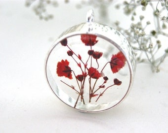 Real flower necklace. Baby's Breath flower necklace. Terrarium necklace. Botanical necklace. Pressed flower jewelry. Red. By OCEAN PETALS