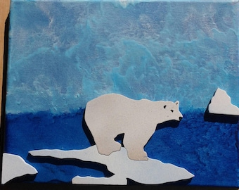 Polar Bear Raised Silhouette, Melted Crayon Art