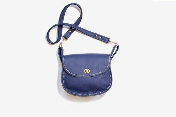 Vintage Leather Satchel / Navy Leather Satchel / Leather Saddle Bag / Leather Shoulder Bag