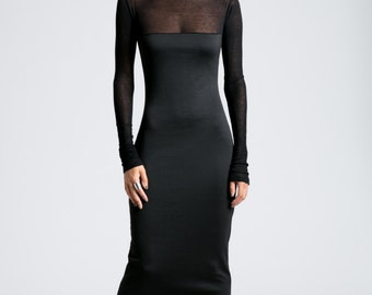 Black Dress / Party Dress / Long SLeeve Dress / Midi Dress / Fitted Dress / Maxi Dress / marcellamoda - MD736