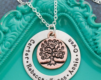 Family Tree Necklace Family Gift Grandma Necklace • Mom Gift from Kids Names Custom Personalized Name Necklace • Generation Gift
