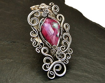 Victorian Pendant, Silver Ruby Pendant, Gift for Her, Gemstone Pendant, Wire Wrapped Pendant, Ruby Necklace, Ruby Necklace, Ruby Jewelry