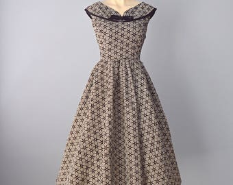 1950s Party Dress...BOBBIE BROOKS Black and White Check Flocked Taffeta Party Dress