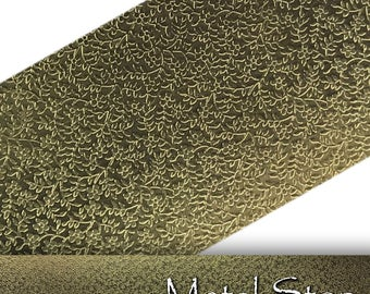 "Textured Brass Tiny Flower and Leaf Pattern 24 gauge Sheet Metal 2.5"" x 12"" - Solid Brass - Great for Rolling Mills 87"
