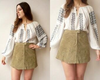 Vintage 1990's High Waisted Khaki Suede Mini A-Line Skirt Size Small