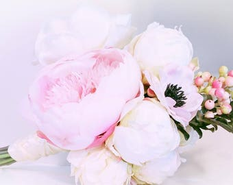 Peony Bouquet - READY TO SHIP Bridal Bouquet - Anemone Bouquet - Ivory Bouquet - Berry Bouquet - Pink Bouquet -  Peony Anemone Berries