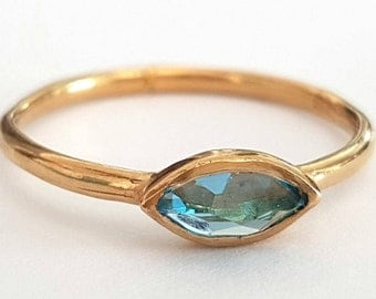 Blue Topaz Ring, Gold Ring, Marquise Engagement Ring, December Birthstone Ring, Solitare Ring, Promise Ring, Handmade Ring