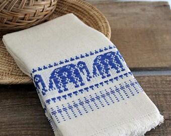 Vintage Woven Elephant Motif Cotton Napkins, Set Of Six Napkins