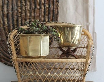 Vintage Small Brass Planter Pot, Set Of Two Planters