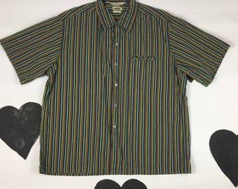 40s / 50s McGregor Tempo Convertible Collar Bermuda Shirt / Vertical Stripes / Tiki / Size Large / Size 16.5 -17 / Diamond Tag / Tropical /