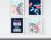 Printable Baby Girl Nursery Artwork, Coral Navy Nursery Wall Art, Dream Big Little One, Birds Branch Flowers,  Girl Bedroom Artwork Set of 4