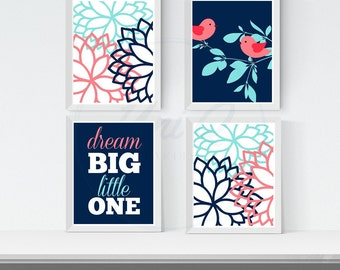 Printable Baby Girl Nursery Artwork, Coral Navy Nursery Wall Art, Dream Big Little One, Birds Branch Flowers,  Girl Bedroom Artwork Set of 4