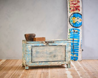 Coffee Table Antique Trunk Reclaimed Bright Blue and Cream Chest Keepsake Box Farm Chic Industrial Box Foot Locker Memory Box Moroccan Decor