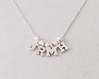 Initial Necklace,Letter Necklace Sterling Silver initial  Custom Bridal Personalized Christmas Gift Wedding  Mothers Day Gift Family Iniyial