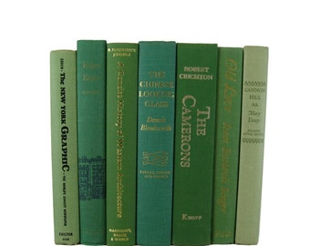Farmhouse Decor, Green Decorative Books, Books by Color, Book Home Decor,  Vintage Books,  Housewarming Gift