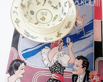 Genevieve Wimsatt Chinese Fortune Telling Tea Cup And Saucer Canonsburg Pottery Rare Hard To Find Tasseography Fortune Teller's Teacup