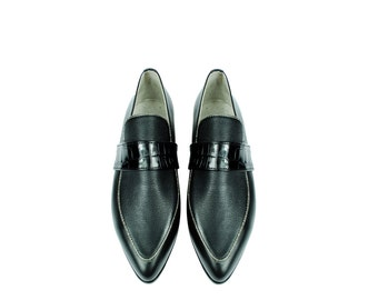 ARTEMISIA. 3 Texture Black Leather Pointy Toe Loafers Flats. (All women sizes) FREE shipping within the US