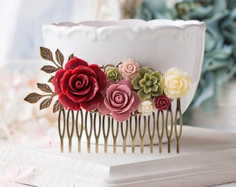 Wedding Hair Comb, Bridal Hair Comb,Dark Red Sage Green Dusty Pink Ivory Flower Hair Comb, Fall Wedding Hair Accessory, Bridal Hairpiece