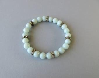 Amazonite Bracelet, Light Blue Beaded Bracelet, Stretch Bracelet, Stackable Bracelet, Semi Precious Natural Stone Bracelet, Bridal Bracelet